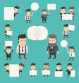 Set of businessman in conversation discuss debat vector image