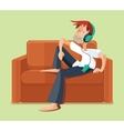 Man resting on sofa couch indoor and listening vector image