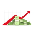 Money rising up graph arrow budget growth vector image