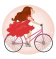 Beautiful young girl rides a Bike vector image
