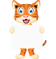 cute tiger cartoon holding sign vector image