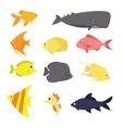 fish icon set exotic sea creature color vector image