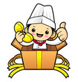 happy chef character call in the box isolated on vector image