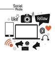 smartphone laptop social media icon set vector image