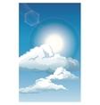 blue sky clouds sun shinign vector image