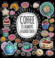 coffee trendy set vector image