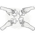 Hand sketches holding cards vector image