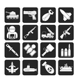 Silhouette weapon and arms Icons vector image