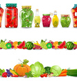 collection seamless borders with preserve food vector image vector image