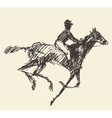 Rider horse jockey retro style hand drawn sketch vector image