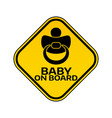 baby on board sign with child nipple silhouette in vector image