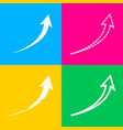 growing arrow sign four styles of icon on four vector image