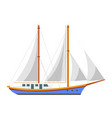 yacht sailboat or sailing frigate ship sea cruise vector image