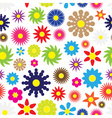 colorful simple retro small flowers seamless white vector image