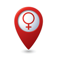 Map pointer with female symbol vector image vector image