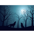 Wolf Howling in the Night Forest3 vector image