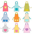 colorful apron set isolated on white vector image
