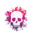 T-shirt print with grunge skull over white vector image