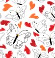 heart and butterfly pattern vector image vector image