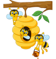 Cartoon branch of a tree with a beehive and a bee vector image