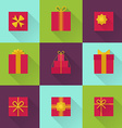 Flat gift box icon with long shadow vector image