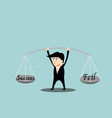 Businessman balance a success and fail in hands vector image