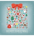 Christmas card with gift box sillhouette and vector image