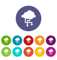 cloud and arrows set icons vector image