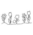 one line design silhouette of flowers vector image