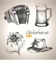 Sketch elements for oktoberfest festival vector image