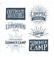 vintage summer camp typographic retro logo vector image