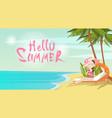 woman on beach hello summer vacation tropical vector image