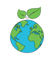 world globe with green leaves vector image