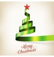 Christmas tree from green ribbon and star EPS 10 vector image