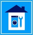 sign with house wrench and washing mashine vector image