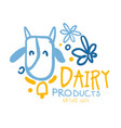 dairy products logo symbol colorful hand drawn vector image
