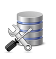 Screwdriver spanner and database icon vector image