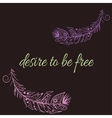 with feathers in boho style vector image
