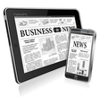 Concept - Digital News Tablet PC and Smartphone vector image