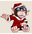 cartoon monkey dressed as Santa Claus and glasses vector image