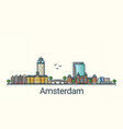 flat line amsterdam banner vector image
