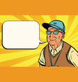 joyful old man in a baseball cap vector image