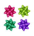 set of purple pink green ribbon bows on background vector image