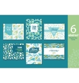 Six abstract vintage thank you cards set with text vector image