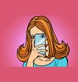 woman smartphone photo eye camera vector image