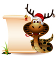 funny christmas snake with blank sign vector image