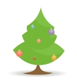 cartoon Christmas tree with toys on white vector image