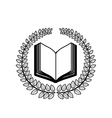 crown of leaves with open book in blank vector image
