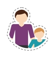 family father child son togetherness cut line vector image
