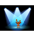A bunny performing on a stage under the spotlights vector image